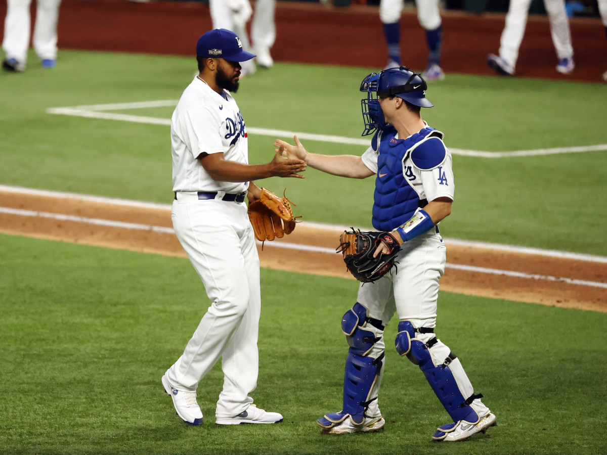 Oct 17, 2020; Arlington, Texas, USA; Los Angeles Dodgers relief pitcher Kenley Jansen (74) celebrates after defeating the Atlanta Braves to win game six of the 2020 NLCS at Globe Life Field.
