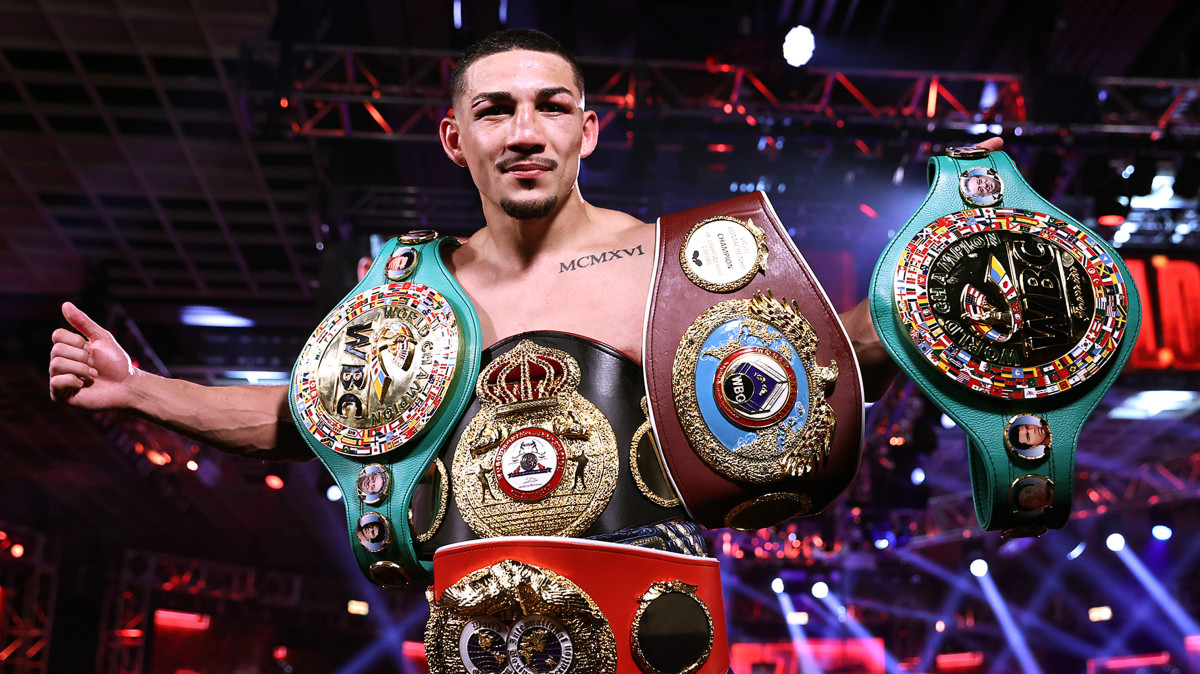 Teofimo Lopez Jr celebrates after defeating Vasiliy Lomachenko (not pictured) in their Lightweight World Title bout at MGM Grand Las Vegas Conference Center on October 17, 2020 in Las Vegas, Nevada.