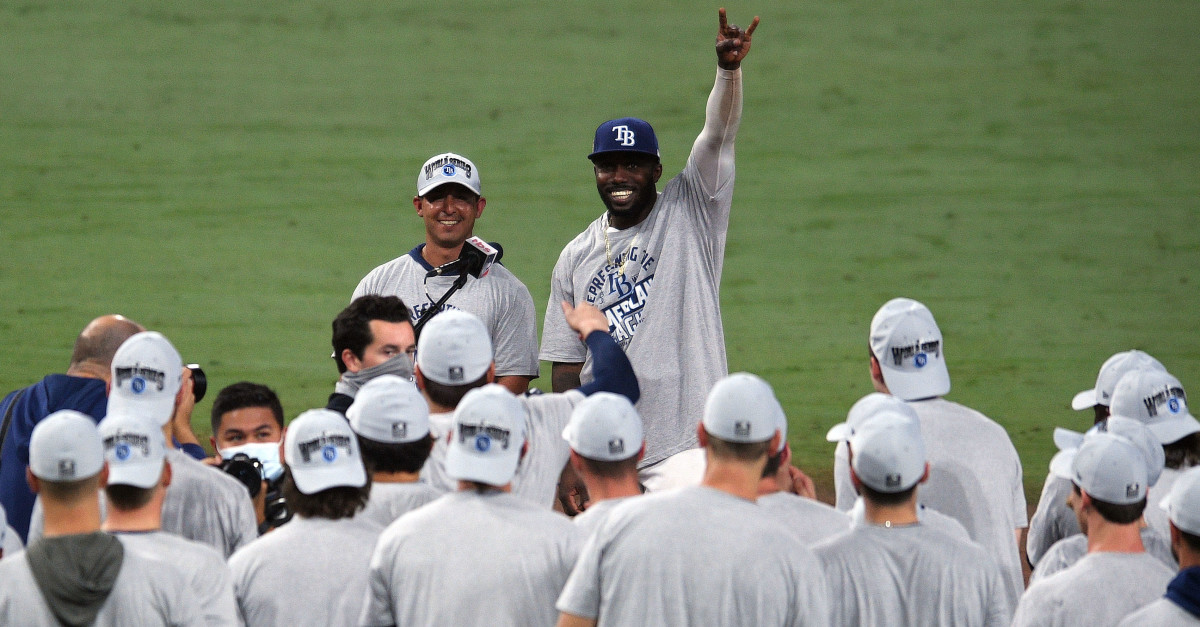 Tampa Bay Rays left fielder Randy Arozarena (56) and the Rays celebrate the victory against the Houston Astros following game seven of the 2020 ALCS at Petco Park.