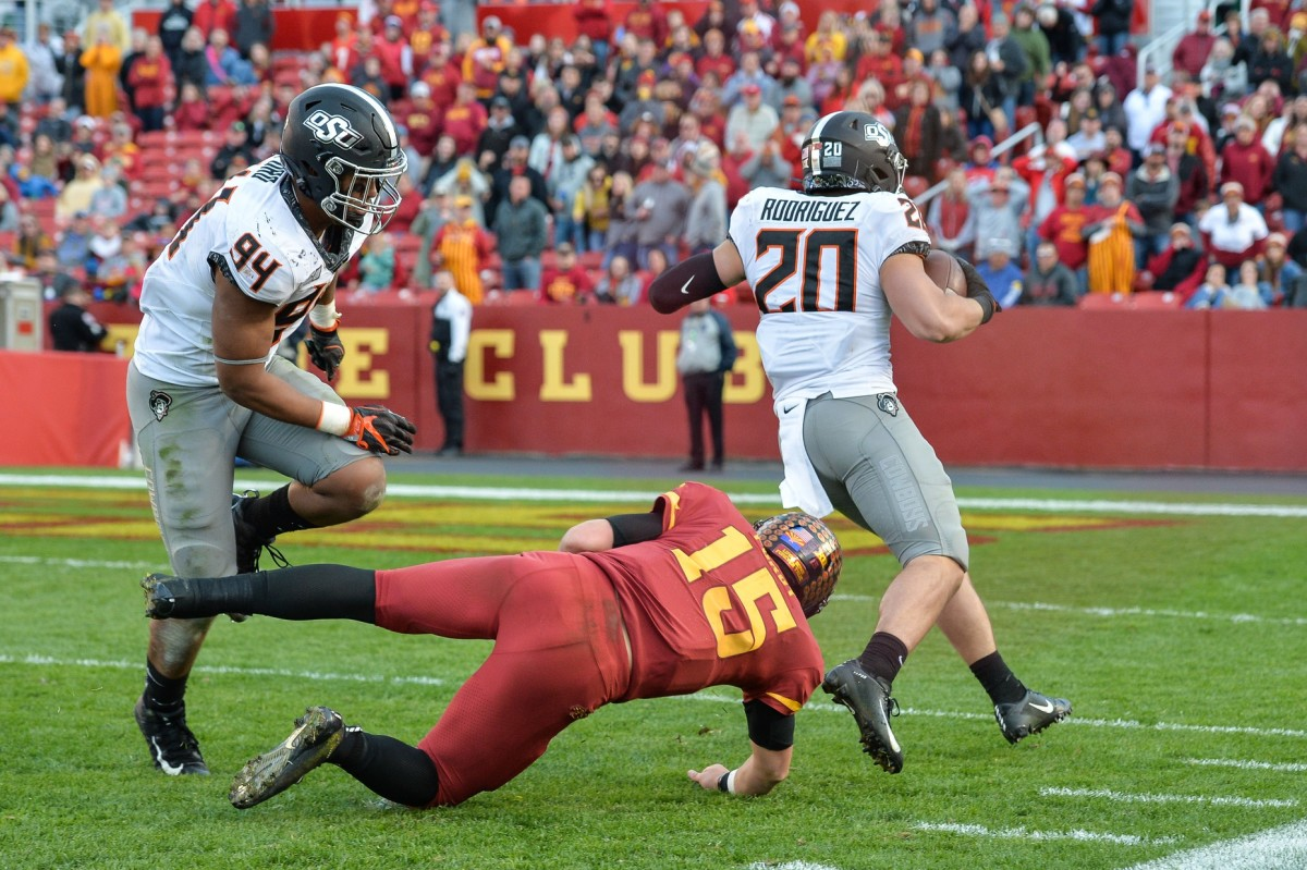 Malcolm Rodriguez (20) fourth quarter interception last season provided the game winning points against Iowa State 34-27.