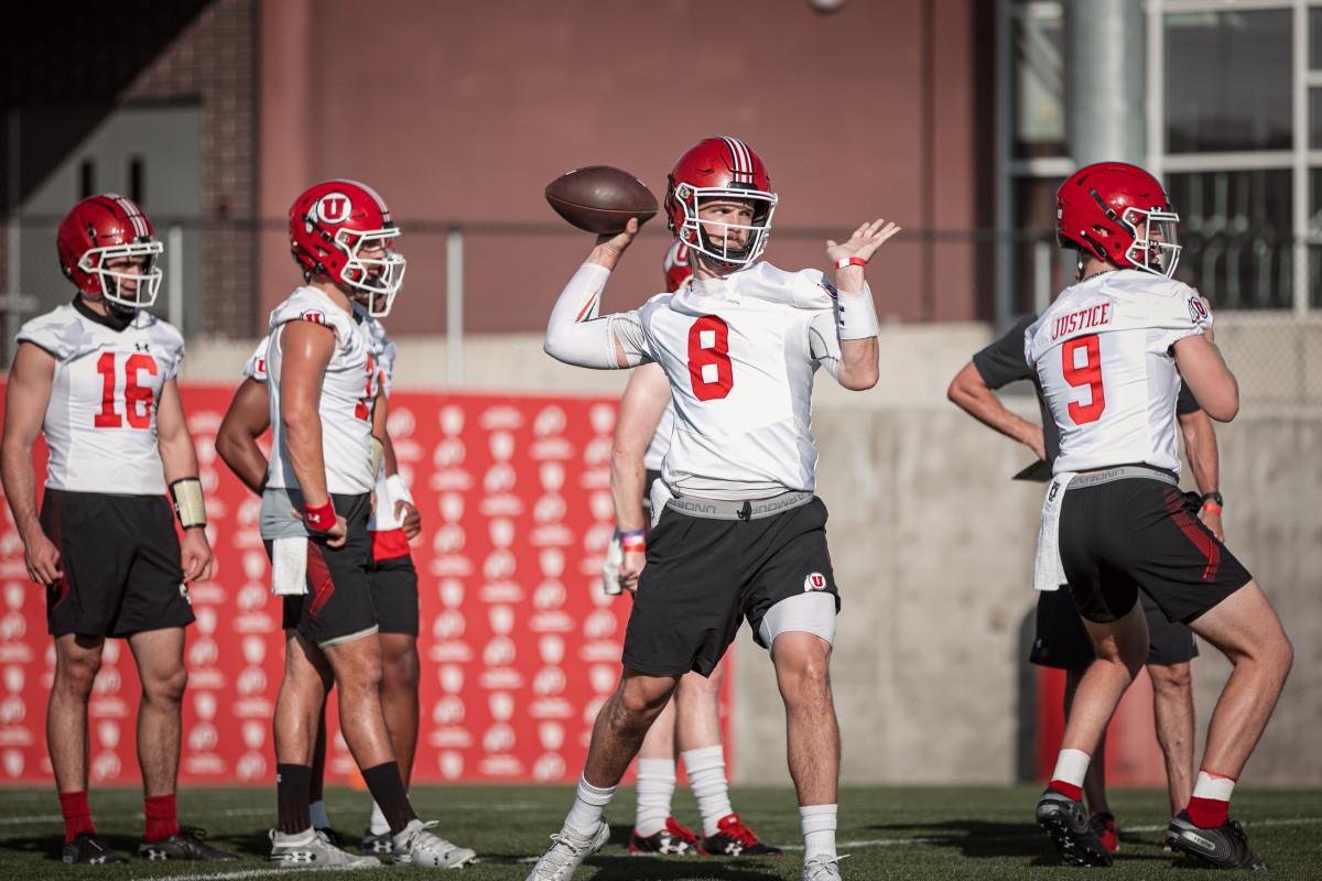 Utah sophomore Jake Bentley throws a pass in a recent practice during Utah's 2020 Fall Camp.