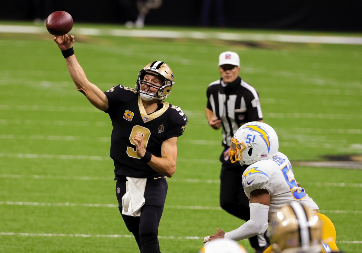 Oct 12, 2020; New Orleans, Louisiana, USA; New Orleans Saints quarterback Drew Brees (9) throws against the Los Angeles Chargers during the fourth quarter at the Mercedes-Benz Superdome. Mandatory Credit: Derick E. Hingle-USA TODAY