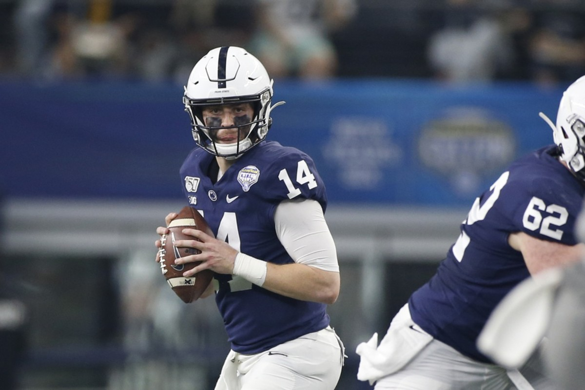 Penn State Nittany Lions quarterback Sean Clifford (14) looks to pass in the second quarter against the Memphis Tigers at AT&T Stadium. (Tim Heitman-USA TODAY Sports)