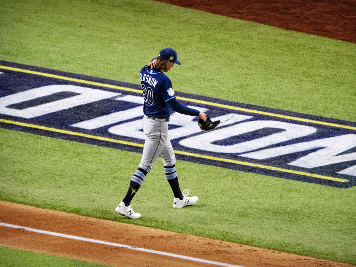 Oct 20, 2020; Arlington, Texas, USA; Tampa Bay Rays starting pitcher Tyler Glasnow (20) leaves the game against the Los Angeles Dodgers during the fifth inning in game one of the 2020 World Series at Globe Life Field.