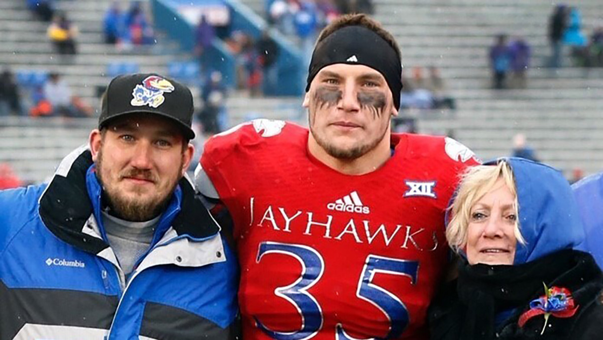 Semke was a defensive end with the Jayhawks.