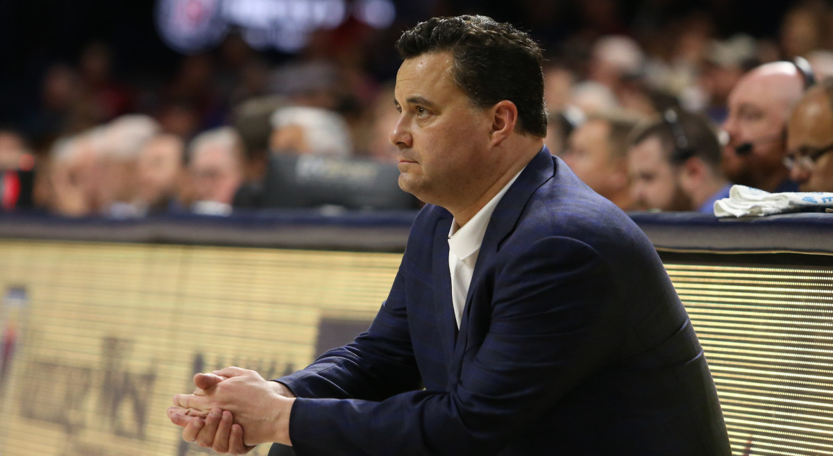 Arizona Wildcats head coach Sean Miller watches his team play against the Washington State Cougars in the first half at McKale Center.