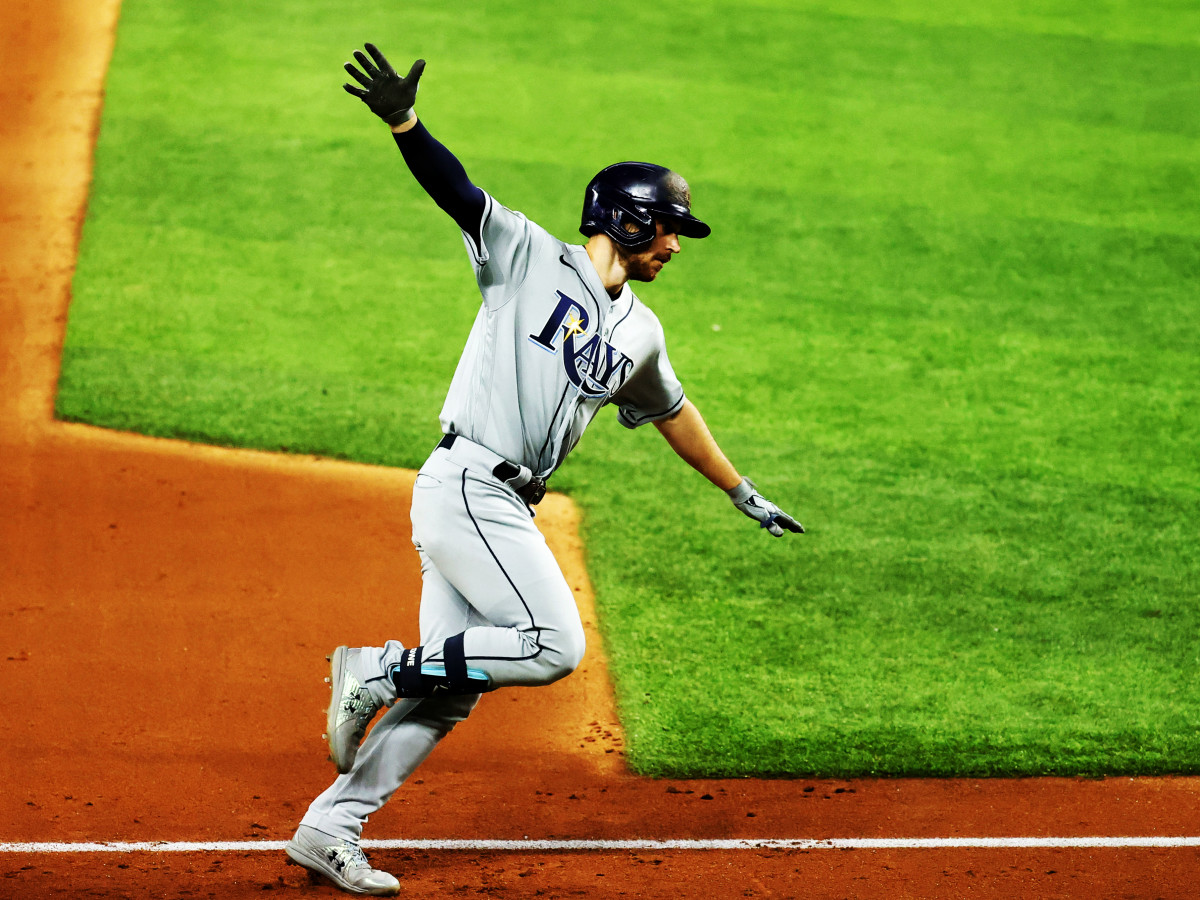 Oct 21, 2020; Arlington, Texas, USA; Tampa Bay Rays second baseman Brandon Lowe (8) rounds the bases after hitting a two-run homerun in the 5th inning against the Los Angeles Dodgers in game two of the 2020 World Series at Globe Life Field.