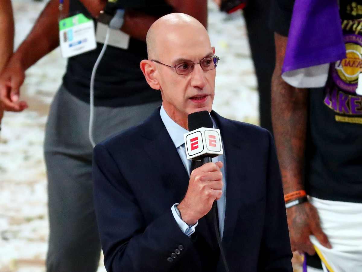 NBA Commissioner Adam Silver during the trophy presentation after game six of the 2020 NBA Finals between the Los Angeles Lakers and the Miami Heat at AdventHealth Arena.