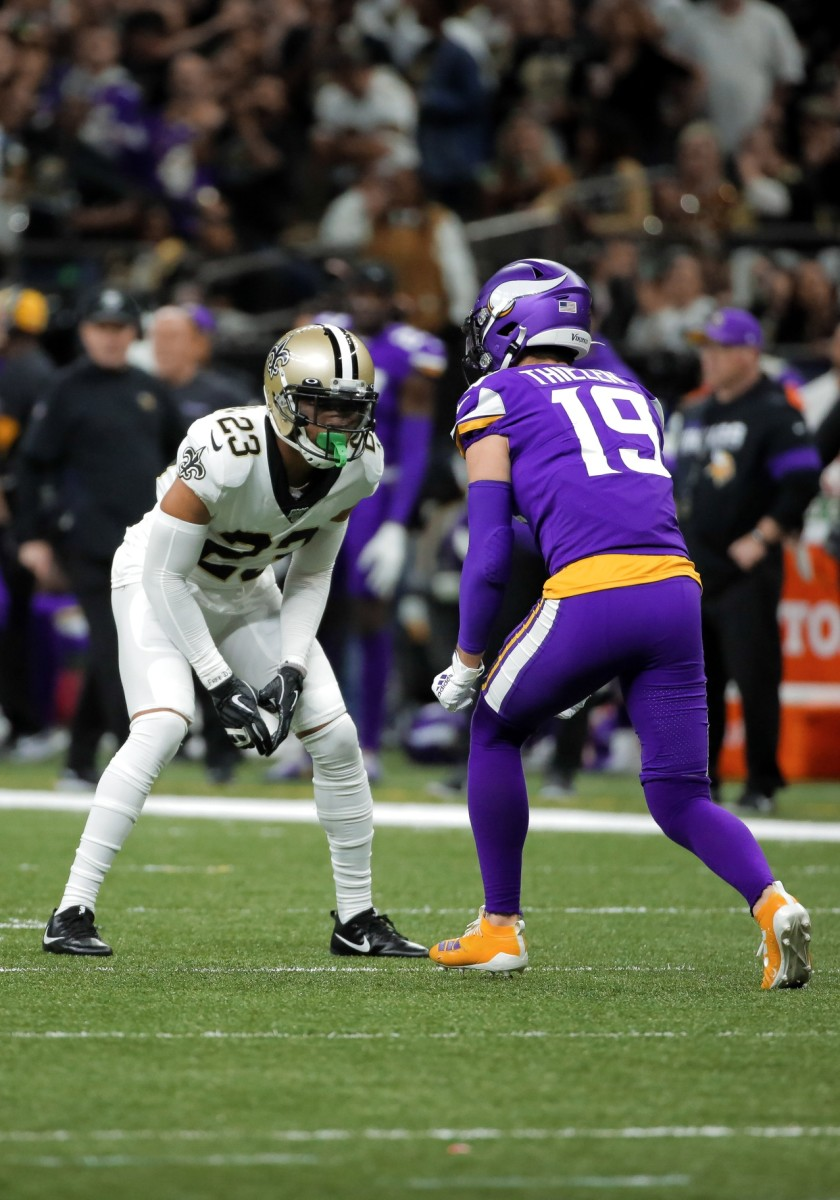Jan 5, 2020; New Orleans, Louisiana, USA; New Orleans Saints cornerback Marshon Lattimore (23) defends Minnesota Vikings wide receiver Adam Thielen (19) during the second quarter of a NFC Wild Card playoff football game at the Mercedes-Benz Superdome. Mandatory Credit: Derick Hingle-USA TODAY
