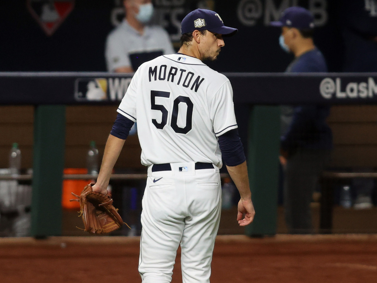 Tampa Bay Rays starting pitcher Charlie Morton (50) looks back after being removed from the game against the Los Angeles Dodgers during the fifth inning of game three of the 2020 World Series