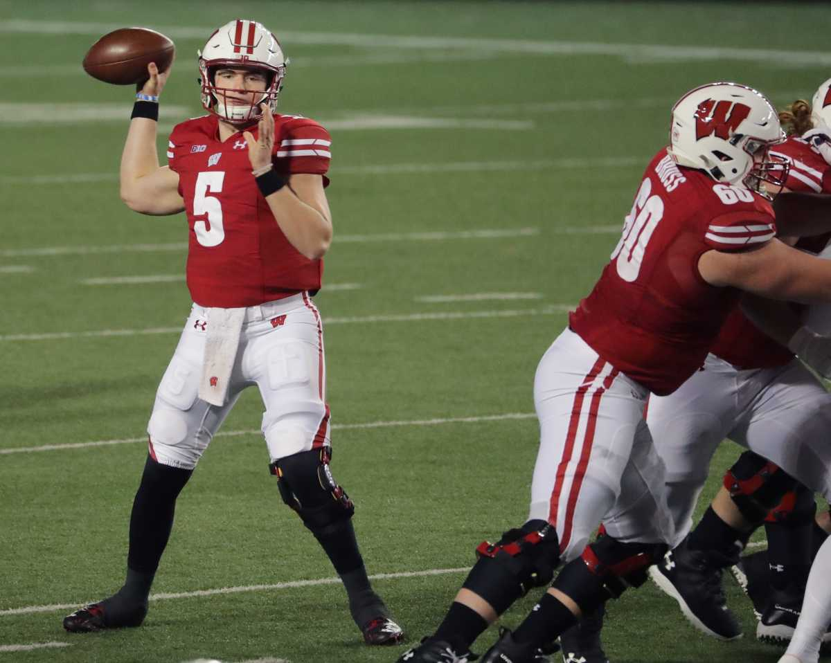 Wisconsin quarterback Graham Mertz executes one of his 20 completed passes Friday night. Mertz only threw one incompletion and threw four of his five touchdowns in the first half in Wisconsin's 45-7 season-opening victory over Illinois.