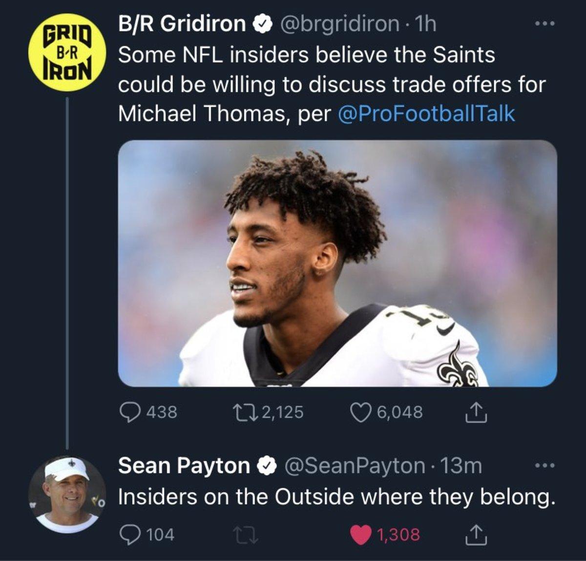 Sean Payton responds to Michael Thomas trade speculation