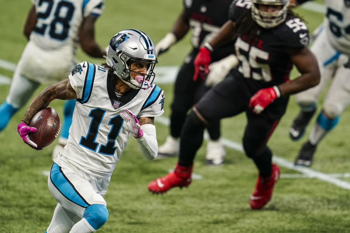 Oct 11, 2020; Atlanta, Georgia, USA; Carolina Panthers wide receiver Robby Anderson (11) runs against the Atlanta Falcons during the second half at Mercedes-Benz Stadium. Mandatory Credit: Dale Zanine-USA TODAY Sports