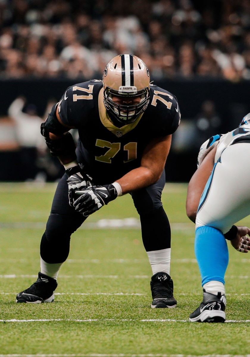 Dec 3, 2017; New Orleans, LA, USA; New Orleans Saints offensive tackle Ryan Ramczyk (71) against the Carolina Panthers during the second quarter at the Mercedes-Benz Superdome. Mandatory Credit: Derick E. Hingle-USA TODAY