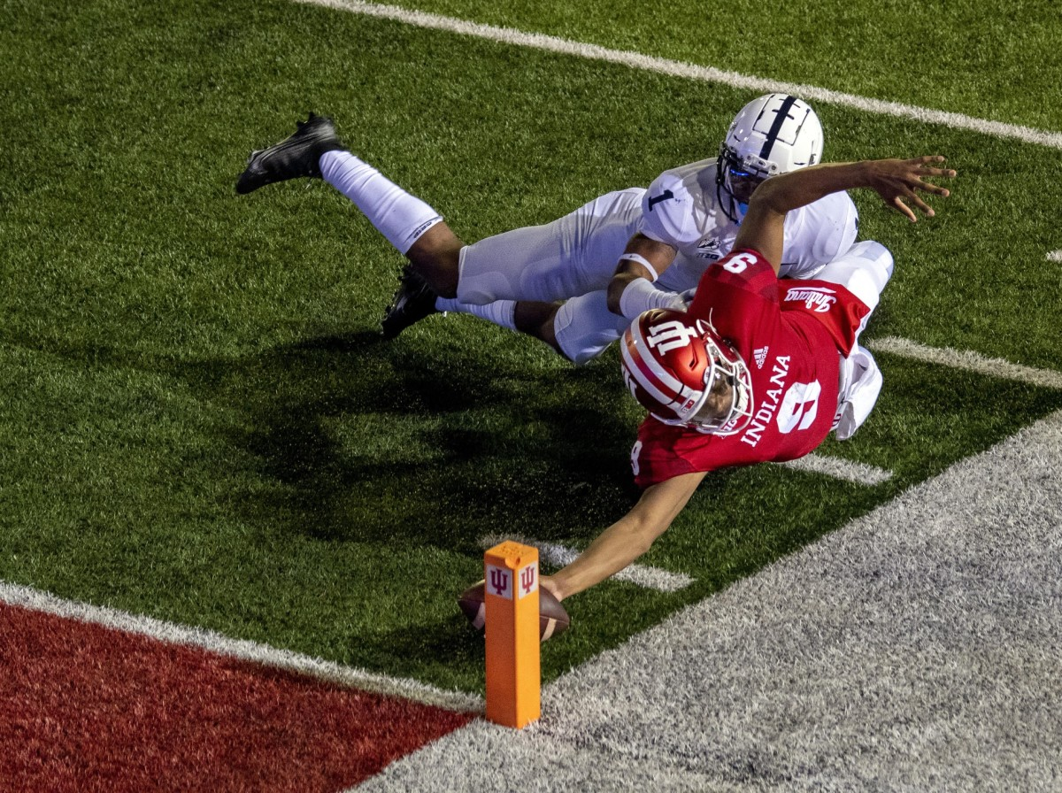 Indiana quarterback Michael Penix Jr. dives for the pylon to score on a two-point conversion, giving Indiana a 36-35 overtime victory against Penn State on Oct. 24 (USA TODAY Sports)