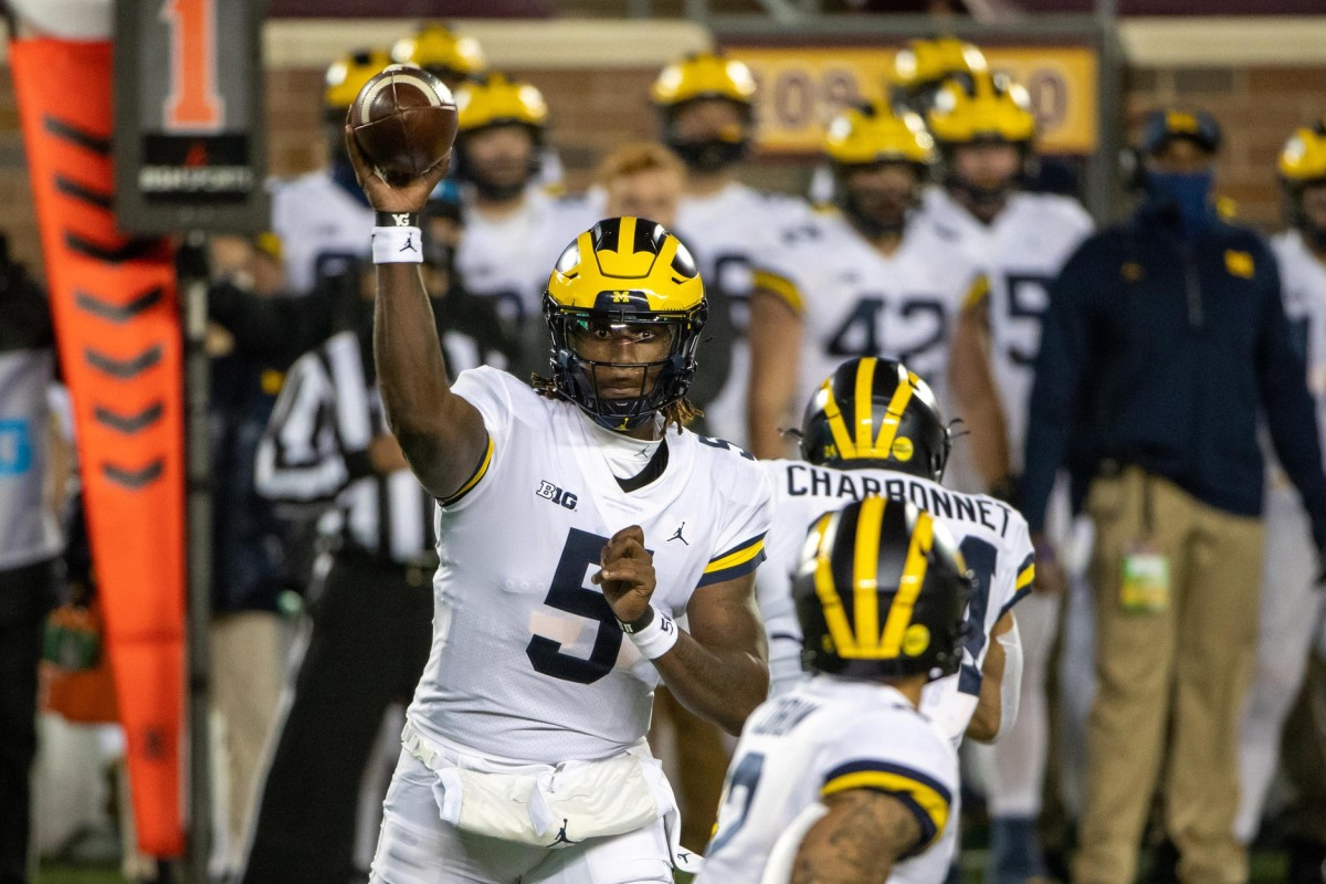 Joe Milton did a nice job in his first start at quarterback for Michigan. (USA TODAY Sports)
