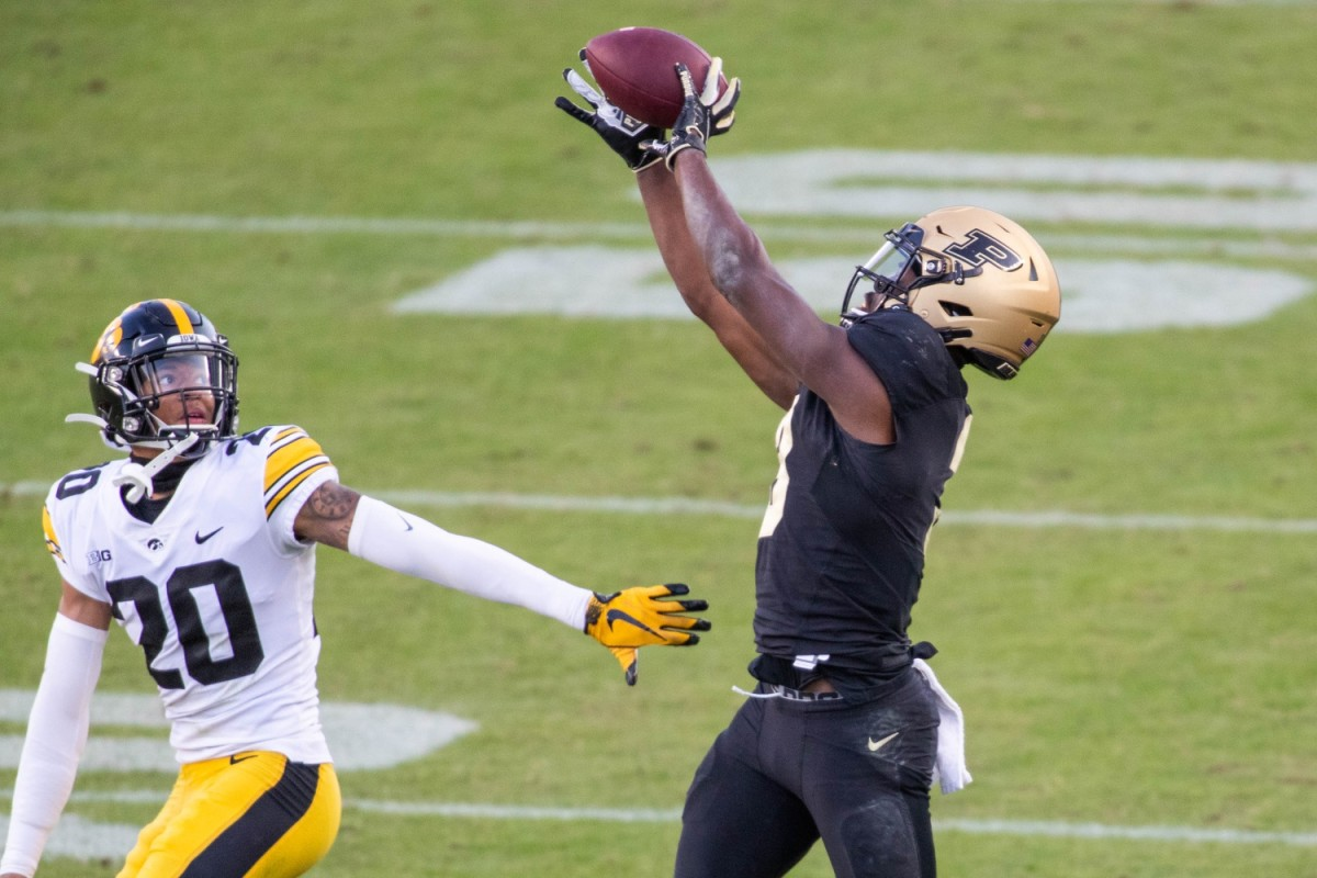 Purdue's David Bell (right) led all Big Ten receivers with 13 receptions in Week 1. (USA TODAY Sports)