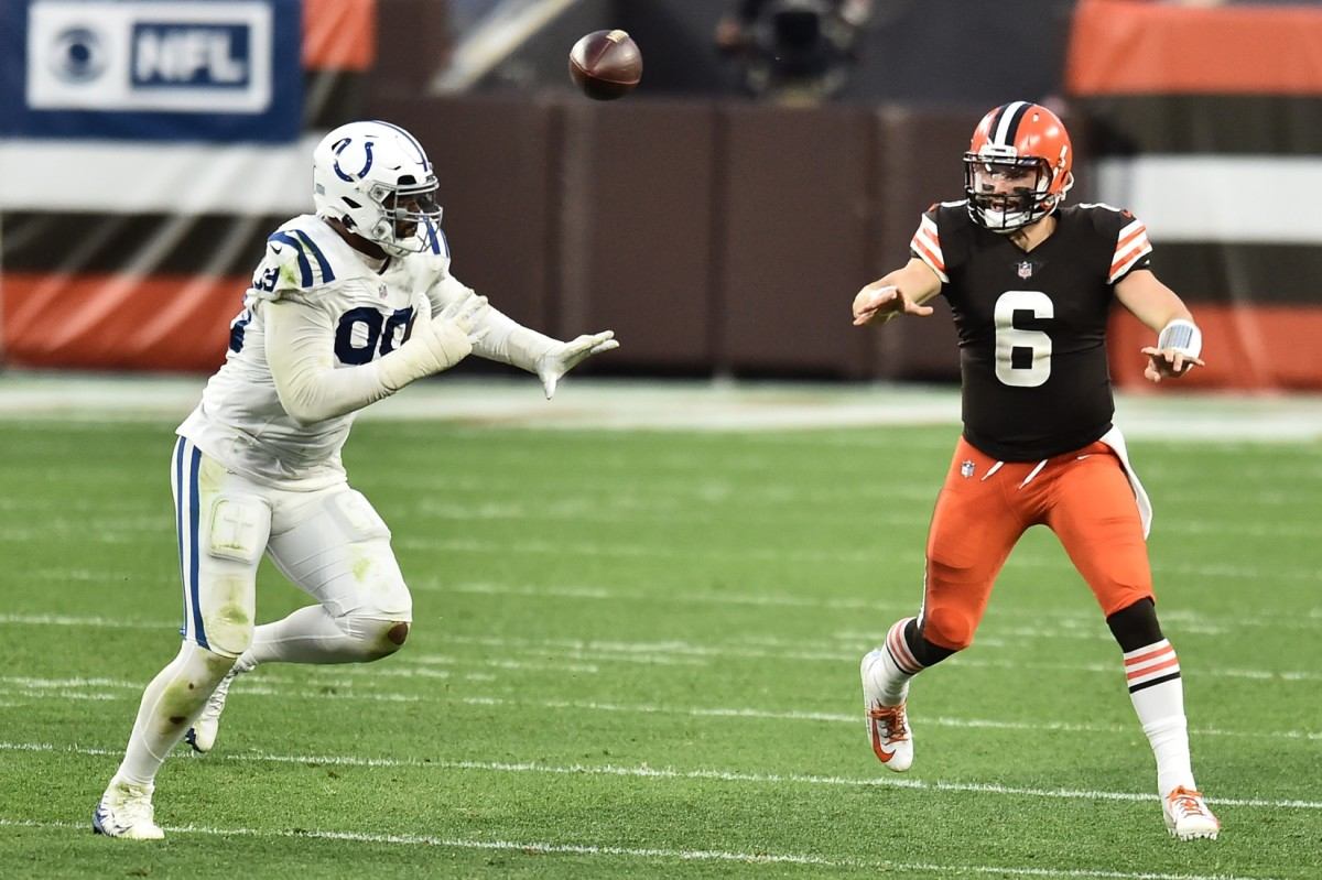 Indianapolis Colts defensive tackle DeForest Buckner pressures Cleveland Browns quarterback Baker Mayfield.