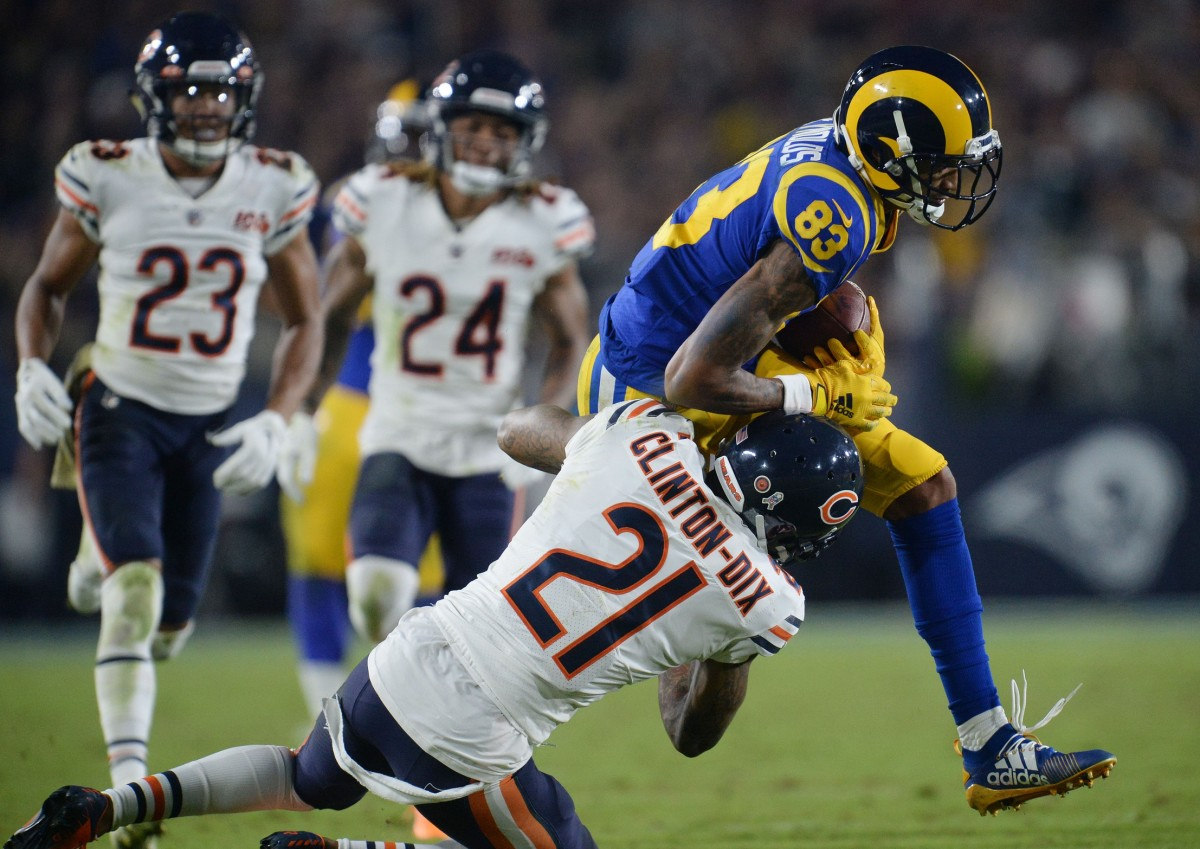 November 17, 2019; Los Angeles, CA, USA; Los Angeles Rams wide receiver Josh Reynolds (83) runs the ball against Chicago Bears strong safety Ha Ha Clinton-Dix (21) during the second half at the Los Angeles Memorial Coliseum. Mandatory Credit: Gary A. Vasquez-USA TODAY
