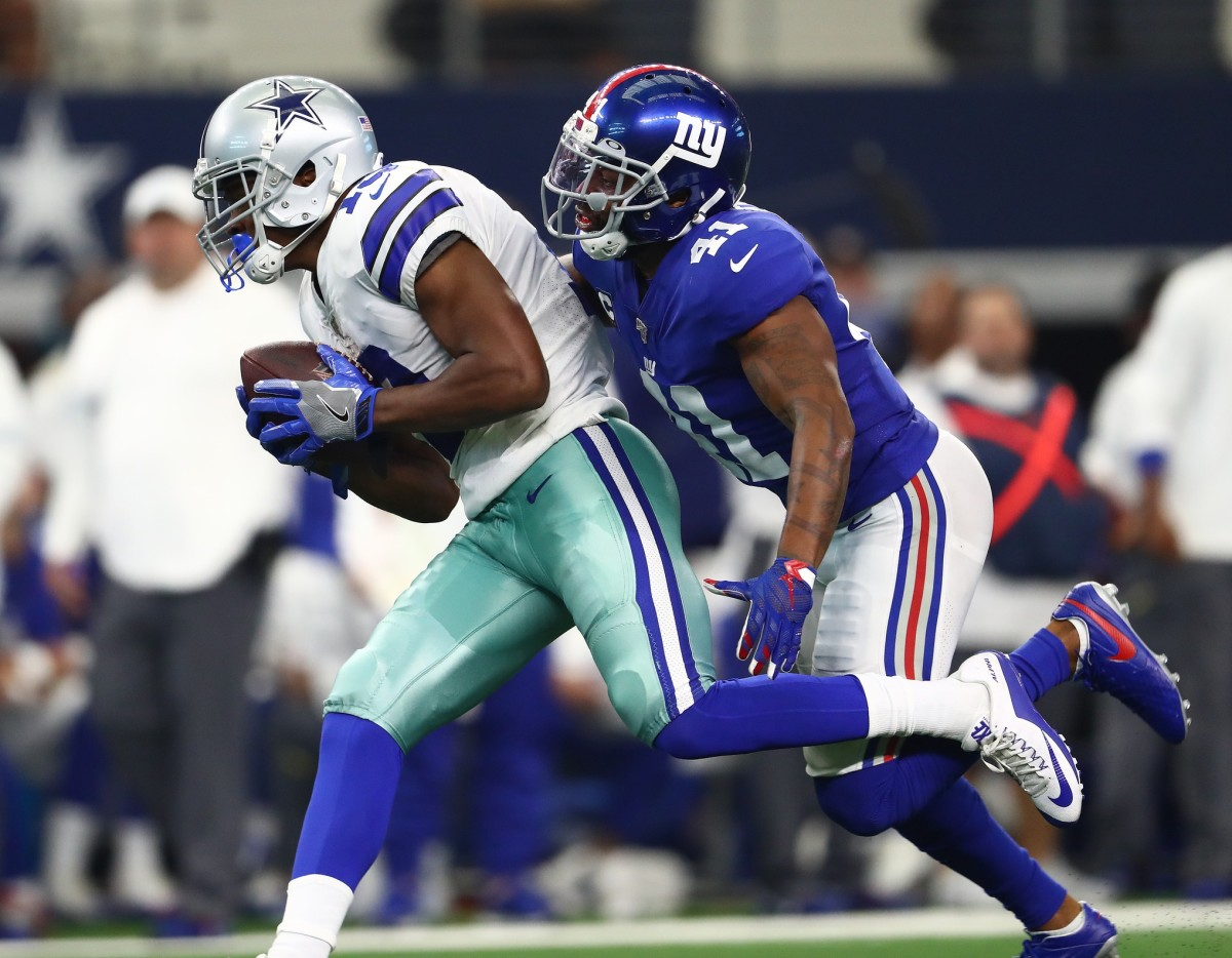 Sep 8, 2019; Arlington, TX, USA; Dallas Cowboys receiver Amari Cooper (19) runs with the ball after a reception against New York Giants safety Antoine Bethea (41) in the third quarter at AT&T Stadium. Mandatory Credit: Matthew Emmons-USA TODAY