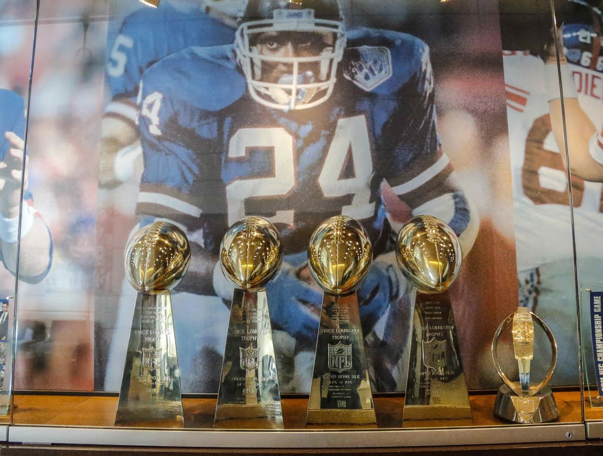 Four Giants Super Bowl trophies on display in the lobby of the franchise headquarters at Quest Diagnostics Training Center.