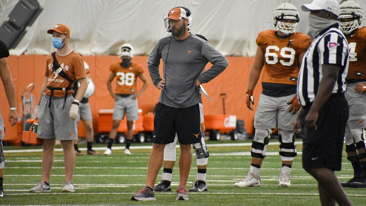 Mike Yurcich at practice with his current employer, University of Texas football.