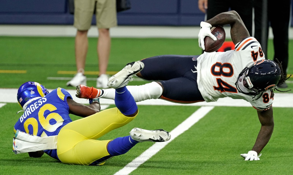 Oct 26, 2020; Inglewood, California, USA; Chicago Bears wide receiver Cordarrelle Patterson (84) is tackled by Los Angeles Rams safety Terrell Burgess (26) during the first half at SoFi Stadium.