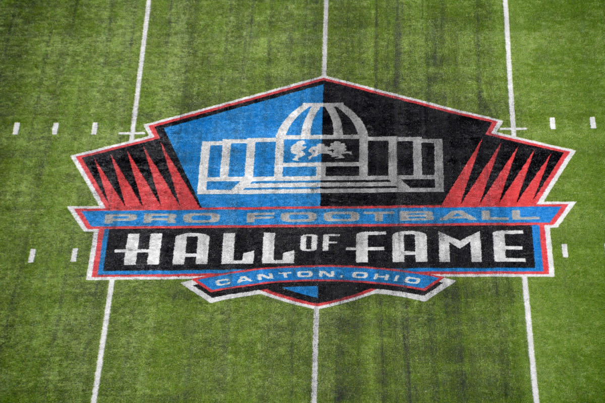 Pro Football Hall of Fame logo at the Tom Benson Hall of Fame Stadium, Canton, Ohio