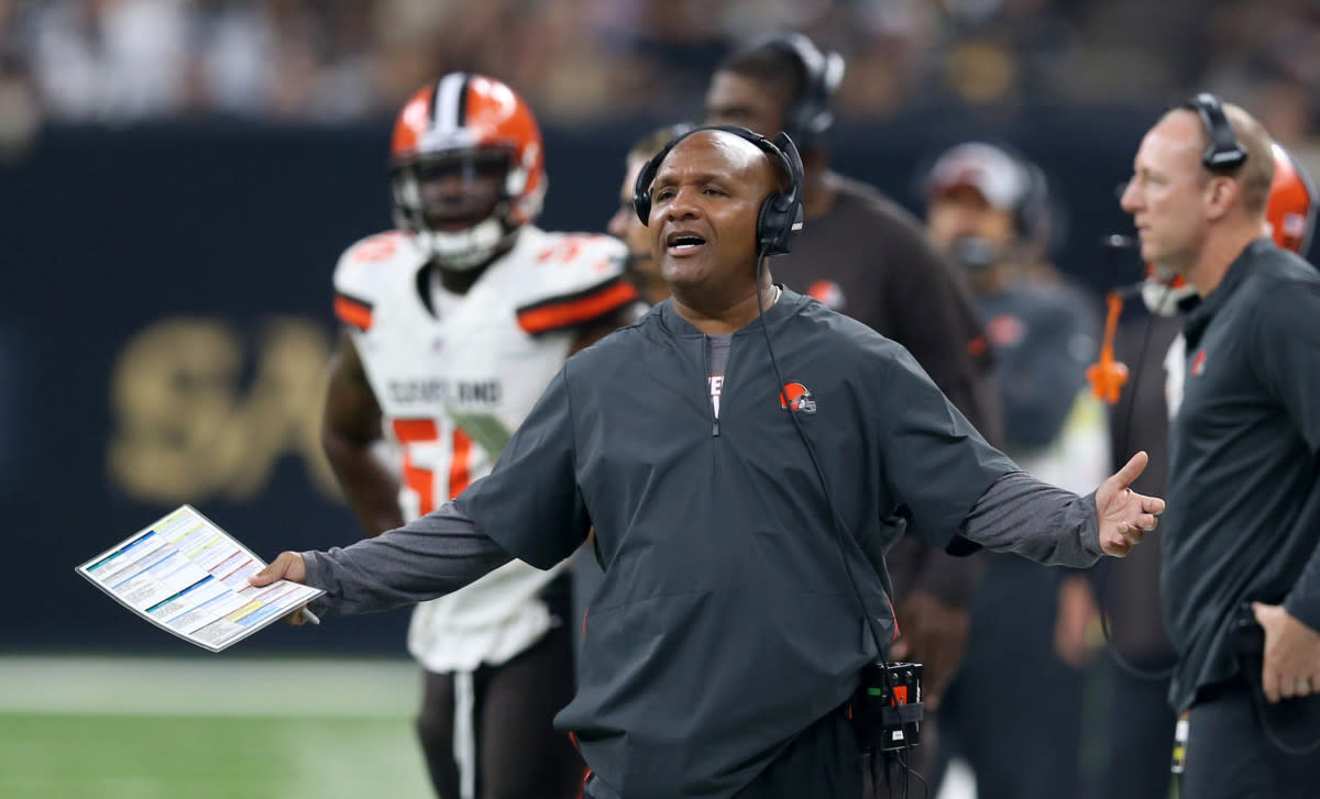 Former Browns head coach Hue Jackson protesting an official's decision during the 2018 season. Jackson was one of the most unsuccessful coaches of all time, going 3-36-1 over 2 1/2 seasons in Cleveland.