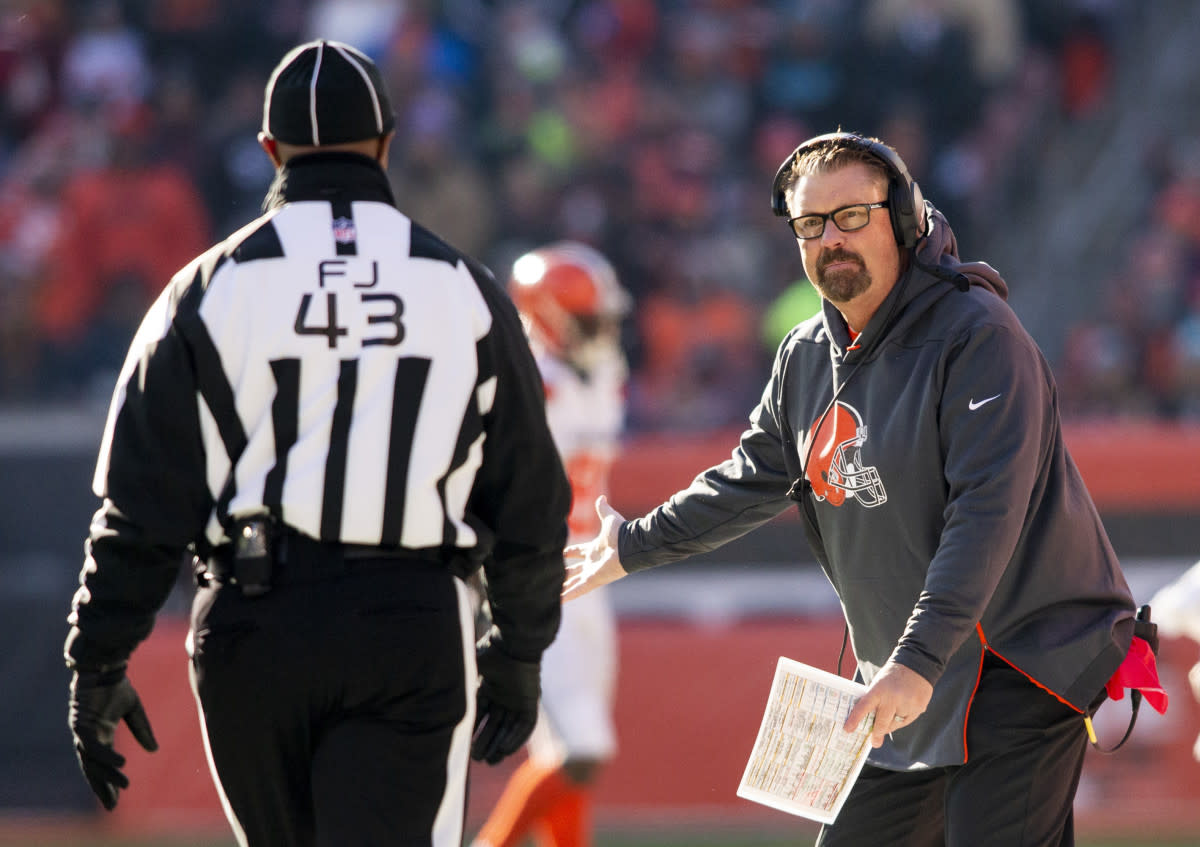 Former Browns interim head coach Gregg Williams questions an official during a 2018 game. Technically, he is the only Cleveland coach since the 1980s to have a winning career record.