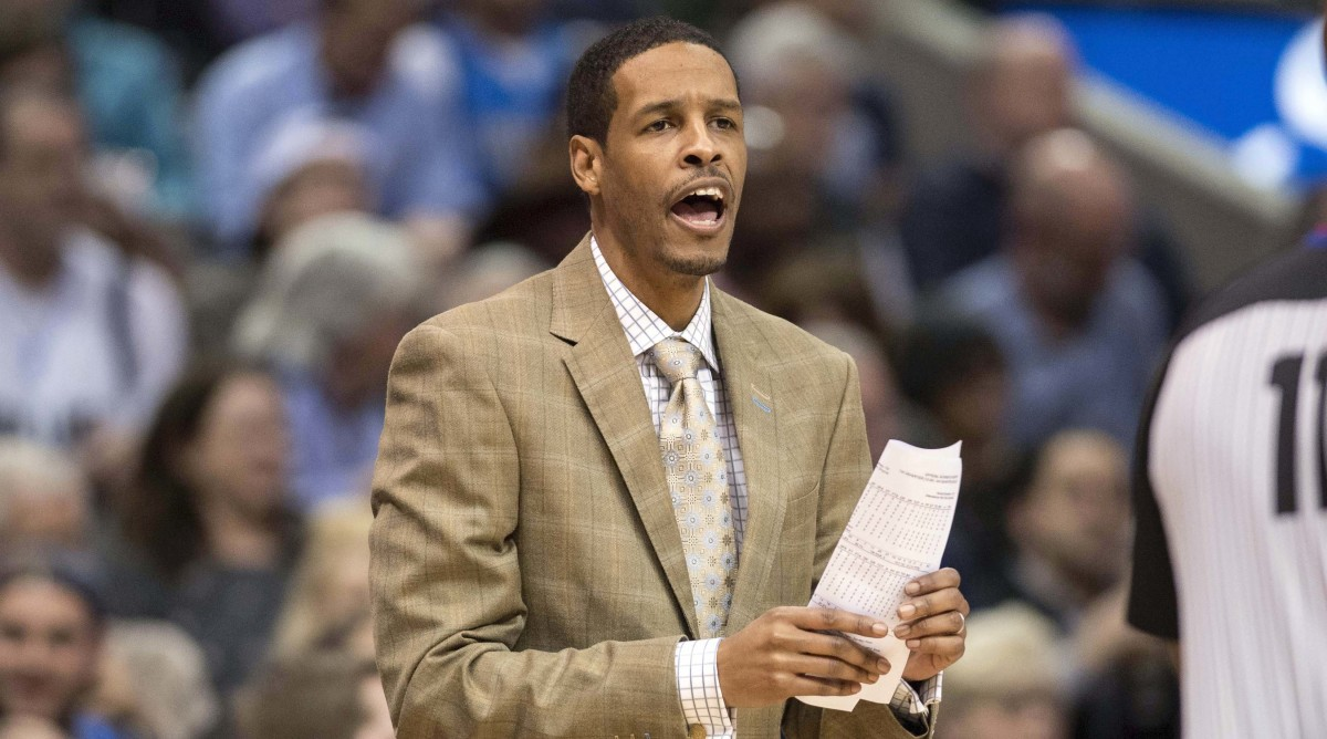 Dallas Mavericks assistant coach Stephen Silas yells to his team during the second half against the Atlanta Hawks at the American Airlines Center. Silas takes over for head coach Rick Carlisle