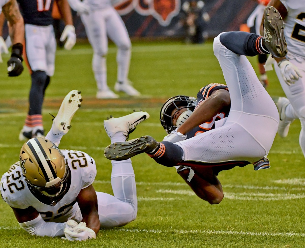 Oct 20, 2019; Chicago, IL, USA; Chicago Bears running back Tarik Cohen (29) is tackled by New Orleans Saints defensive back Chauncey Gardner-Johnson (22) during the second half at Soldier Field. Mandatory Credit: Matt Marton-USA TODAY Sports