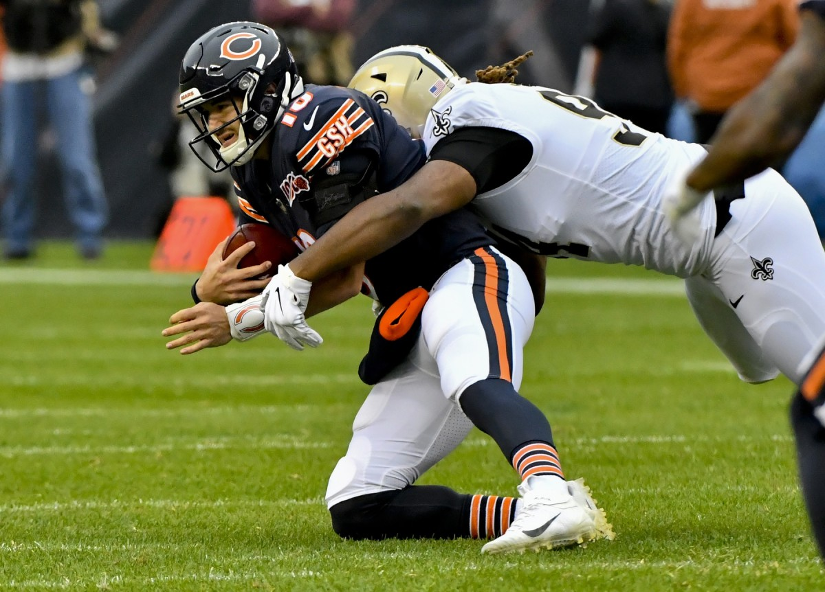 Oct 20, 2019; Chicago, IL, USA; Chicago Bears quarterback Mitchell Trubisky (10) is sacked by New Orleans Saints defensive end Cameron Jordan (94) during the first half at Soldier Field. Mandatory Credit: Matt Marton-USA TODAY
