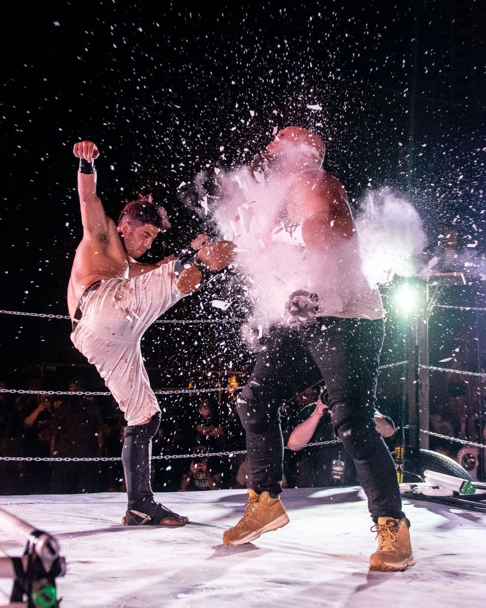"""Glass shatters during a wrestling """"deathmatch"""""""