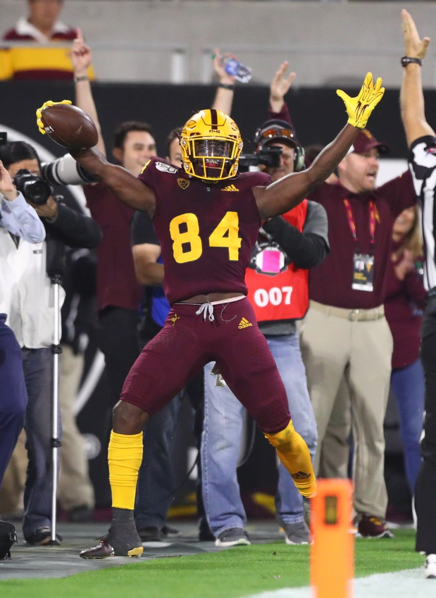 Nov 23, 2019; Tempe, AZ, USA; Arizona State Sun Devils wide receiver Frank Darby (84) celebrates after catching a touchdown pass against the Oregon Ducks in the fourth quarter at Sun Devil Stadium.