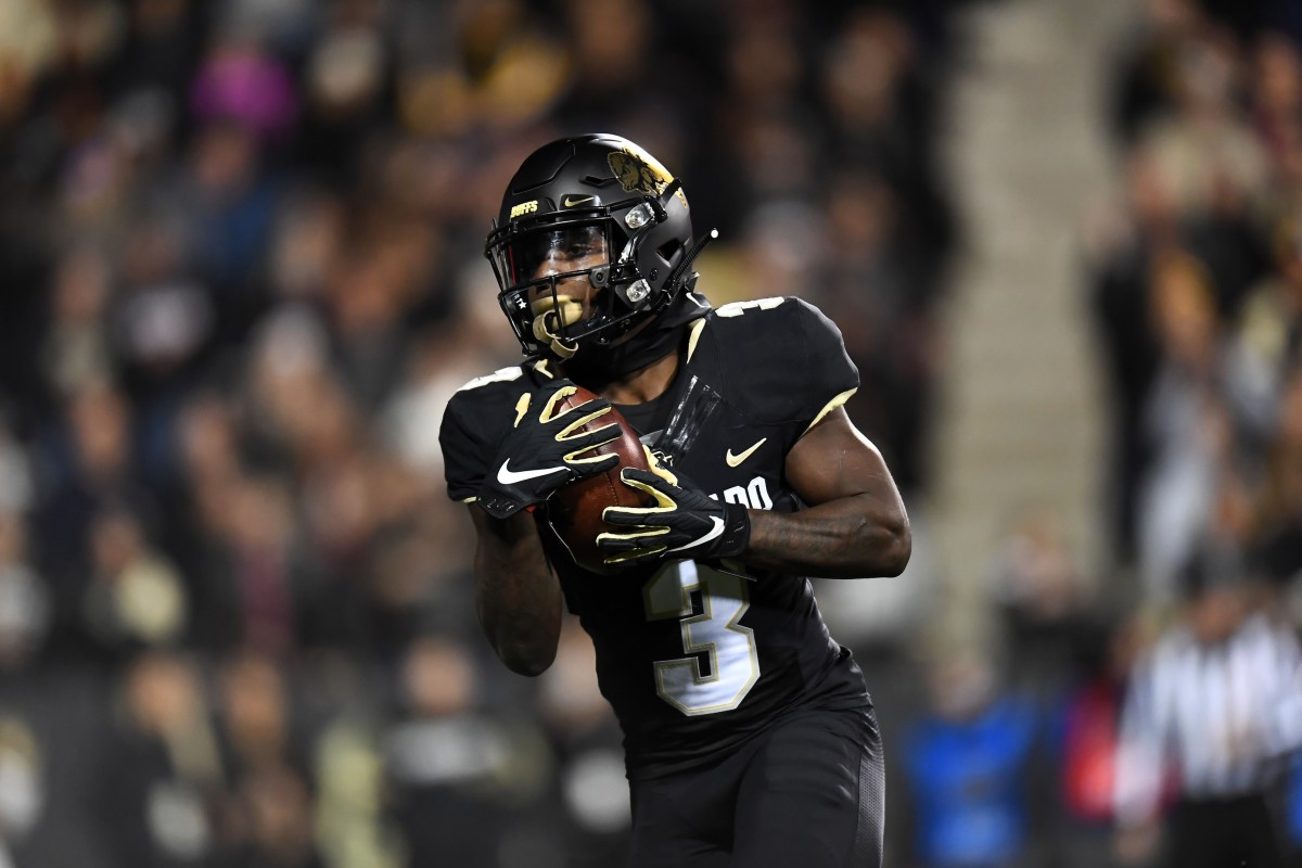 Oct 25, 2019; Boulder, CO, USA; Colorado Buffaloes wide receiver K.D. Nixon (3) pulls in a touchdown reception in the second quarter at Folsom Field.