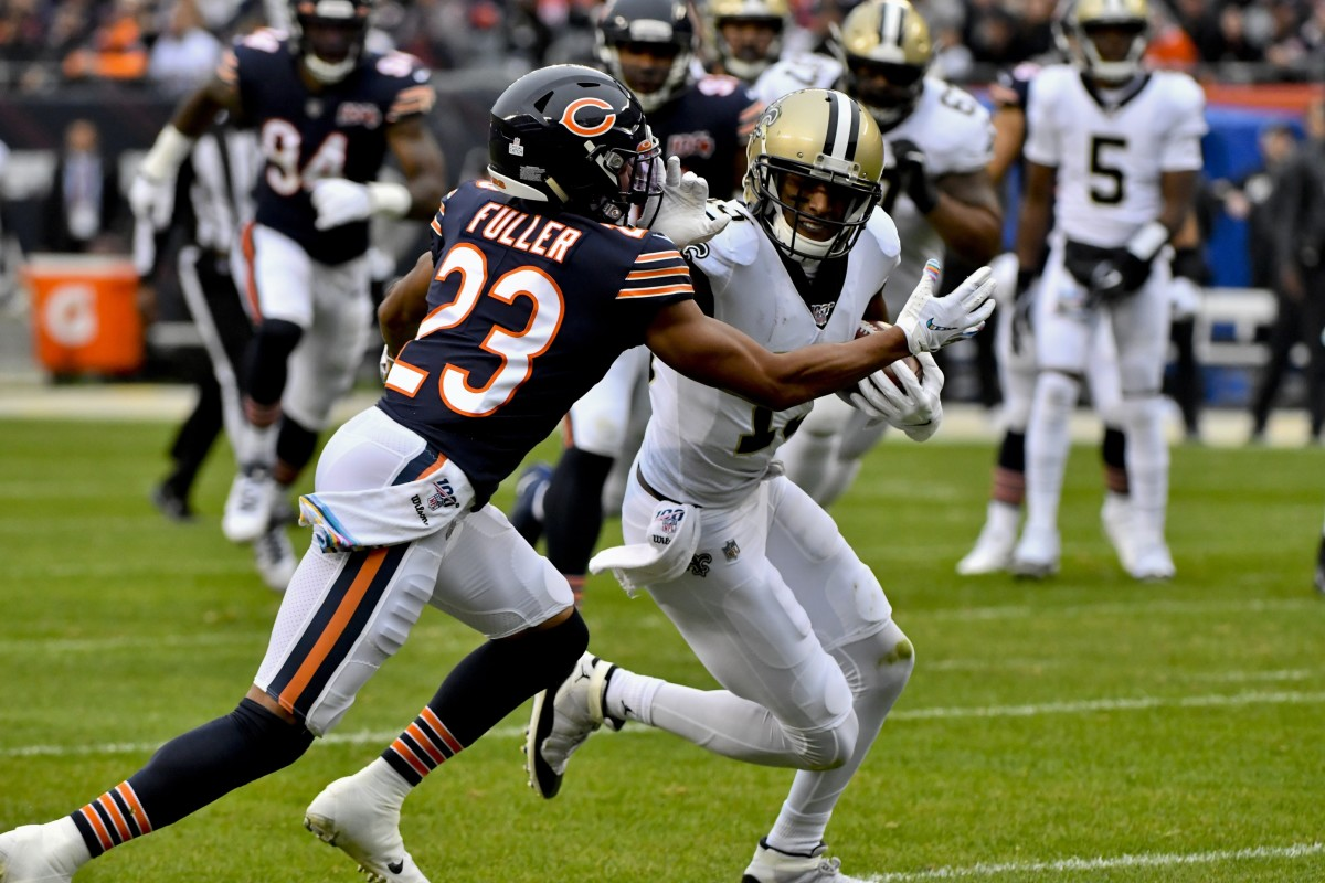 Oct 20, 2019; Chicago, IL, USA; New Orleans Saints wide receiver Michael Thomas (13) runs against Chicago Bears cornerback Kyle Fuller (23) during the first half at Soldier Field. Mandatory Credit: Matt Marton-USA TODAY
