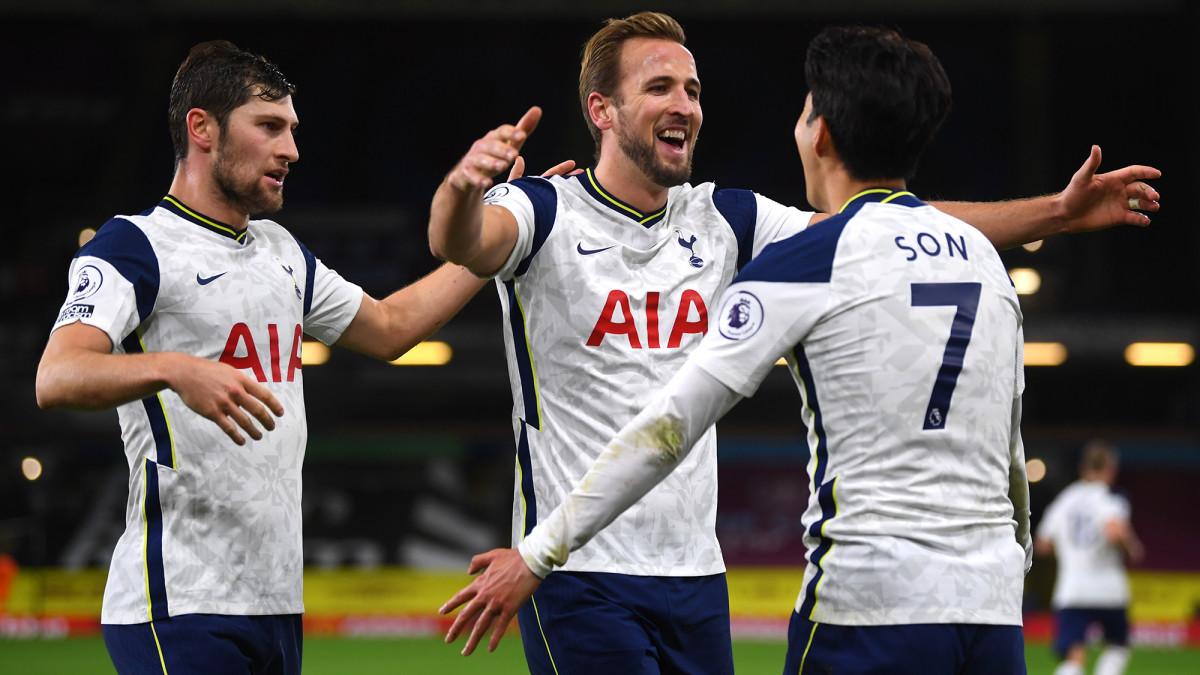 Tottenham's Harry Kane and Son Heung-min celebrate a goal