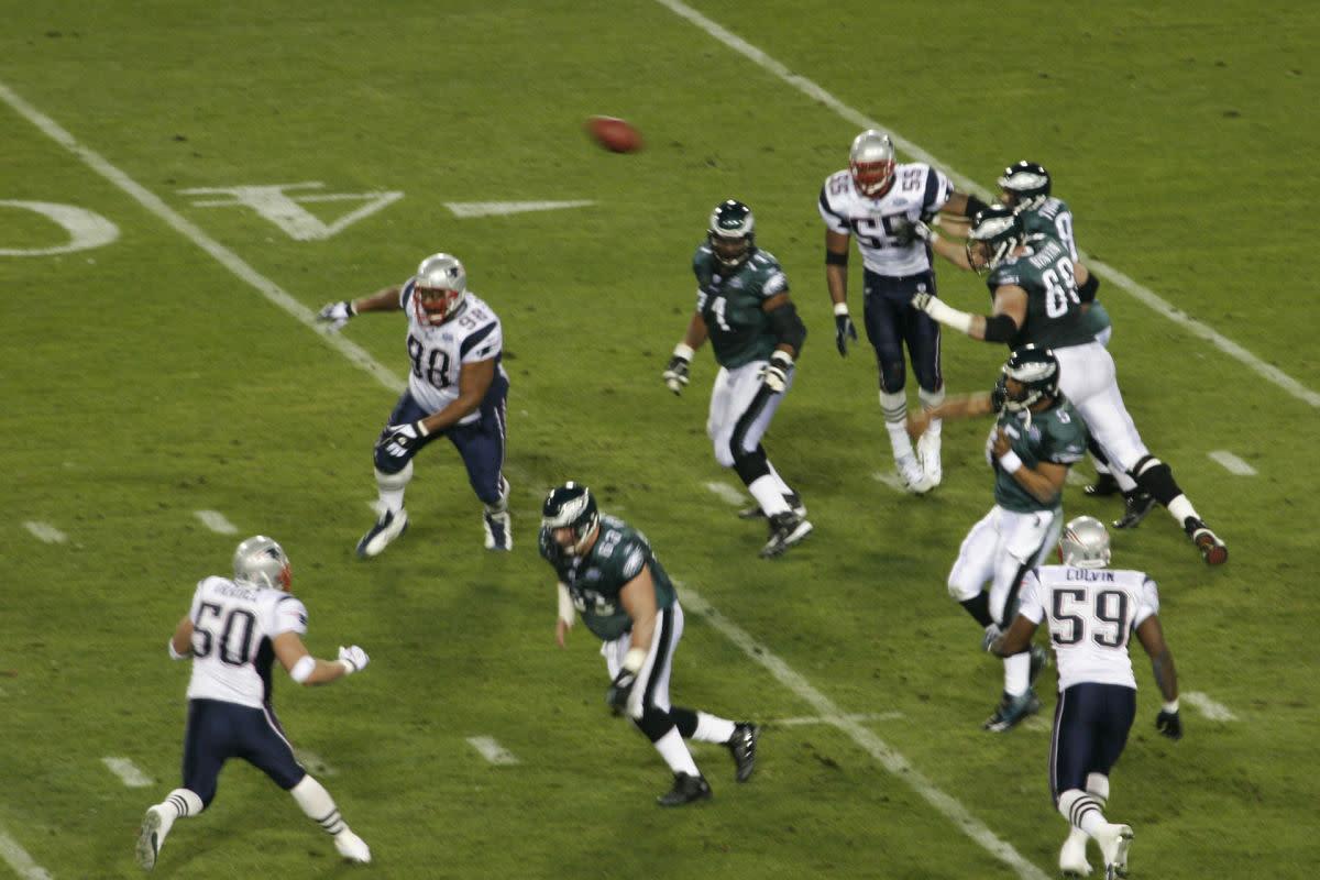 Former Eagles quarterback Donovan McNabb throws a pass during Super Bowl XXXIX.