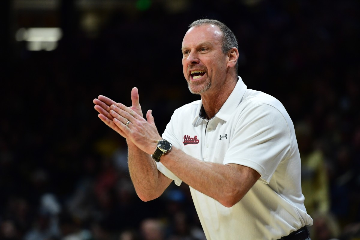 Jan 12, 2020; Boulder, Colorado, USA; Utah Utes head coach Larry Krystkowiak calls out in the second half against the Colorado Buffaloes at the CU Events Center.