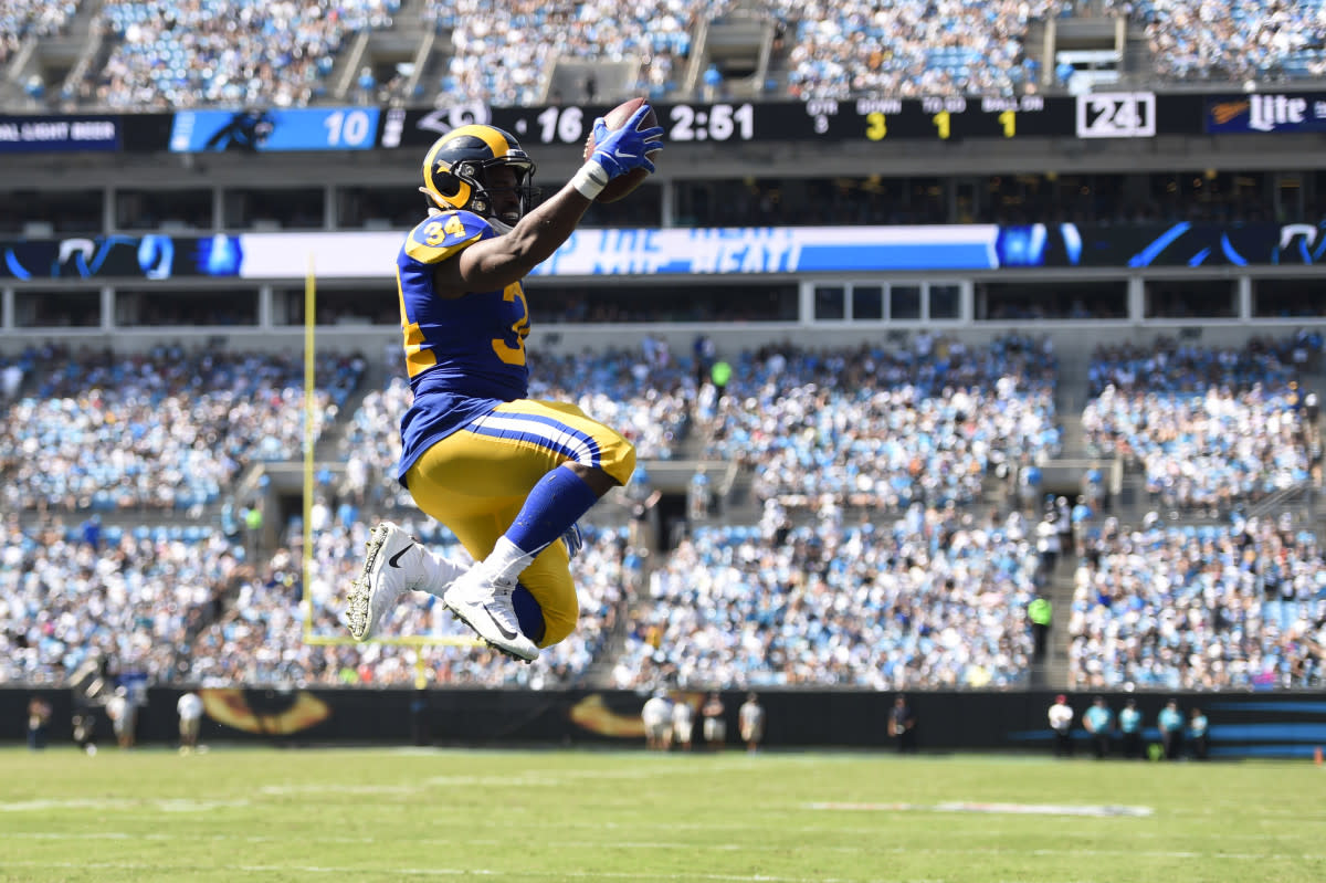 Rams running back Malcolm Brown scores a touchdown in the third quarter at Bank of America Stadium in a 2019 game. While Brown is the team's reserve running back, he's shown hints that he could someday be a star.