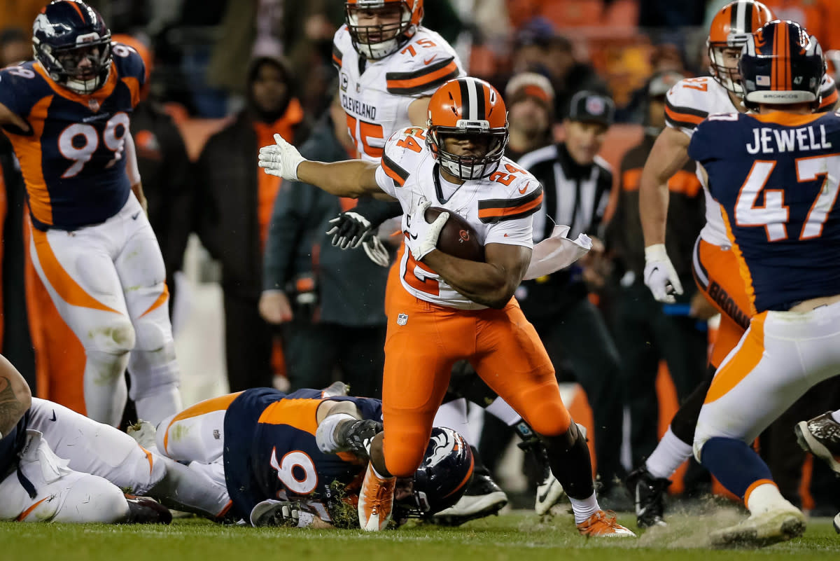 Browns running back Nick Chubb (24) runs the ball in the fourth quarter against the Broncos at Broncos Stadium at Mile High in Denver, Dec. 15, 2018.