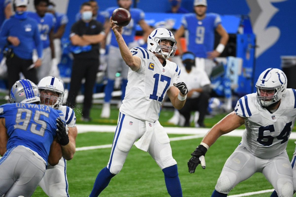 Indianapolis Colts quarterback Philip Rivers throws a pass in Sunday's road win over the Detroit Lions at Ford Field.