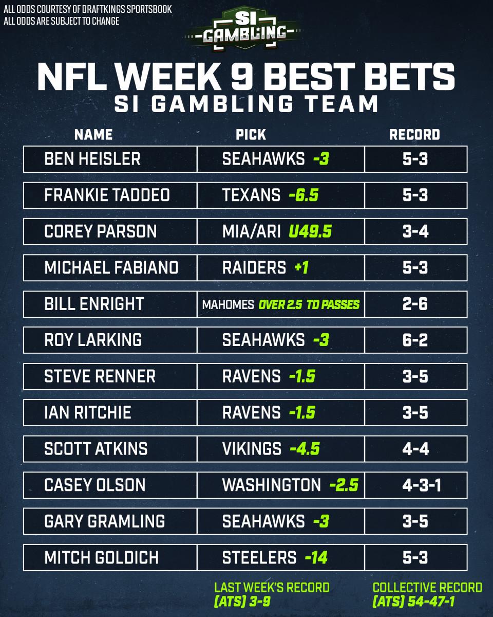 betting odds nfl week 9