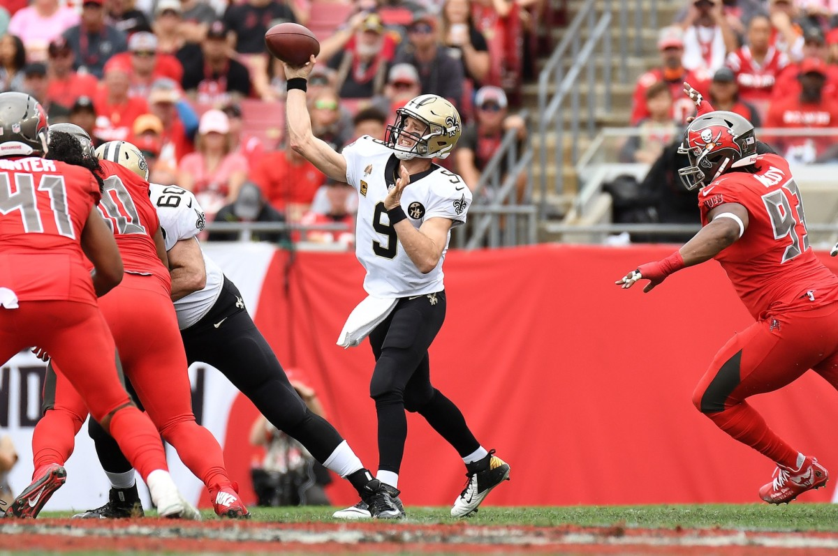 Dec 9, 2018; Tampa, FL, USA; New Orleans Saints quarterback Drew Brees (9) throws during the first quarter against the Tampa Bay Buccaneers at Raymond James Stadium. Mandatory Credit: Kevin Jairaj-USA TODAY