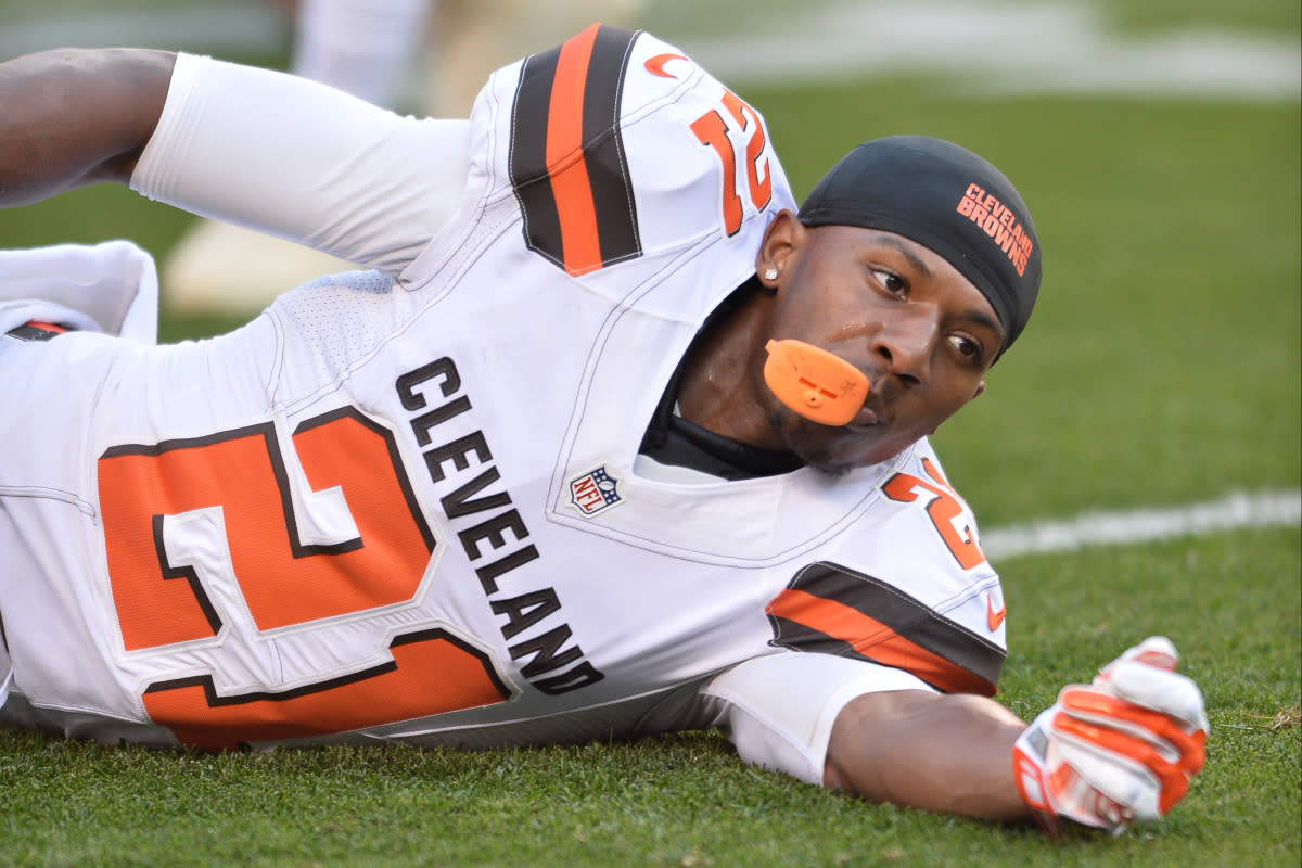 Former Browns cornerback Justin Gilbert prepares for a 2016 preseason game. He was one of two first-round draft picks the Browns selected in 2014 who never made any significant contributions in the NFL.