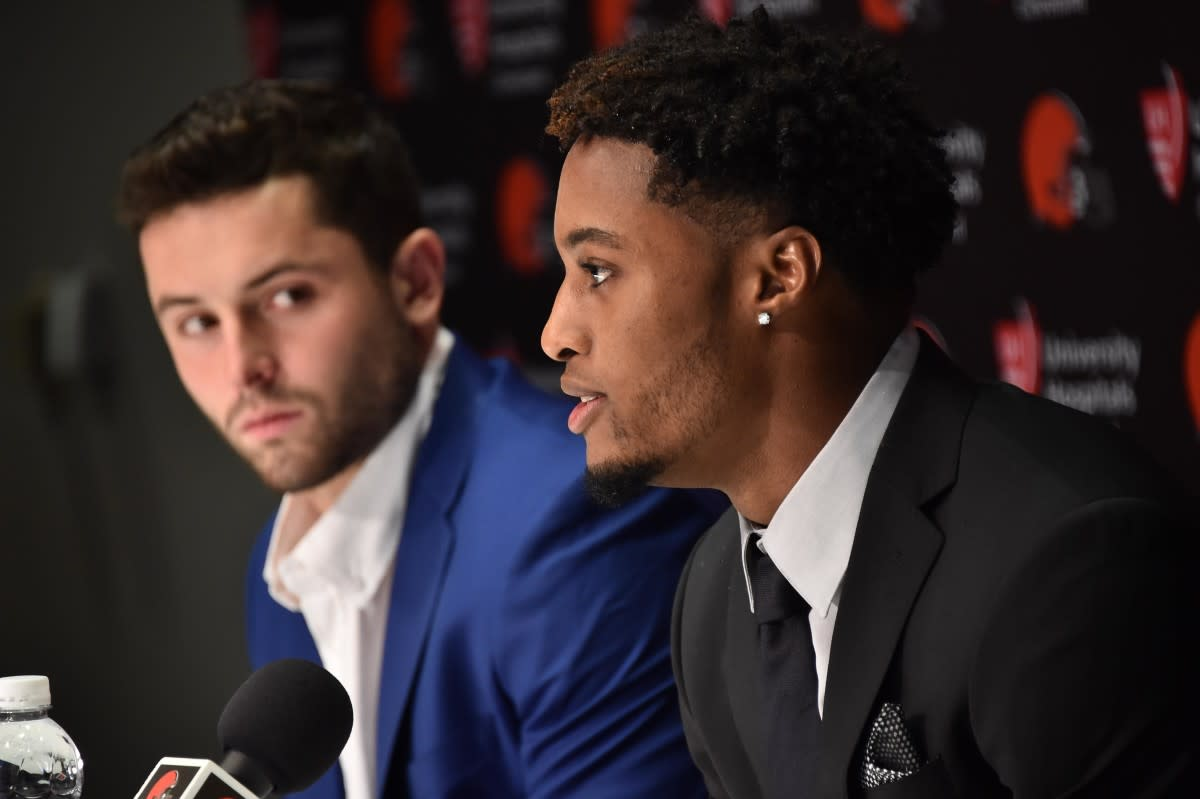 Baker Mayfield (left) and Denzel Ward speak after both being selected by the Browns in the first round of the 2018 NFL Draft.