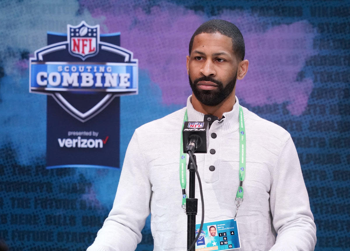 First-year Cleveland general manager Andrew Berry speaks during the 2020 NFL Combine in Indianapolis. He is hopeful his first draft with the Browns will be remembered as a good one.