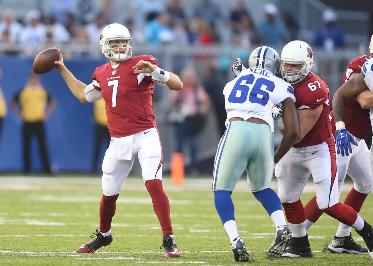 Cardinals quarterback Blaine Gabbert (7) drops back to pass against the Cowboys during the first quarter at Tom Benson Hall of Fame Stadium in the 2017 NFL Hall of Fame Game.