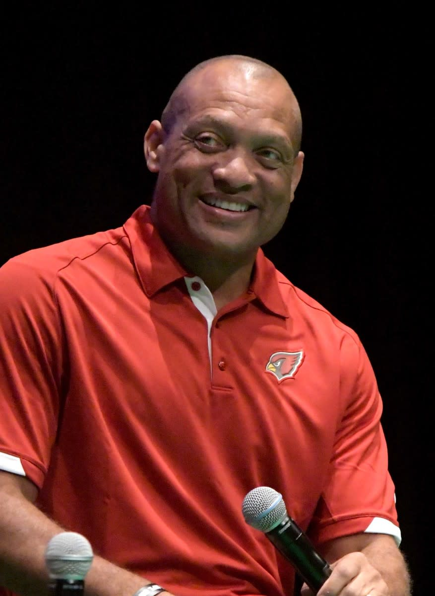 Cardinals Hall of Fame cornerback Aeneas Williams speaks in London during NFL UK Live at The Mermaid in 2017.